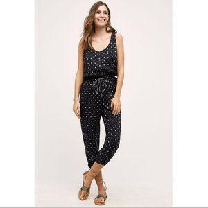 dRA Anthropologie Brisa Black Printed Jumpsuit  XS